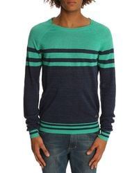 Diesel Bharati Navy and Green Sweater - Lyst
