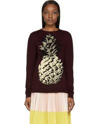 MSGM Burgundy Knit Pineapple Sweater - Lyst