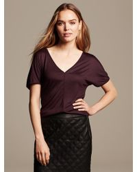 Banana Republic Piped Tunic Tee Wine - Lyst