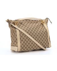 Gucci Beige And Ebony Gg Canvas 'Miss Gg Original' Convertible Top Handle Bag - Lyst