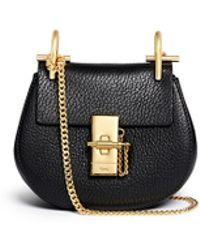 Chloé | 'drew' Nano Grainy Leather Shoulder Bag | Lyst