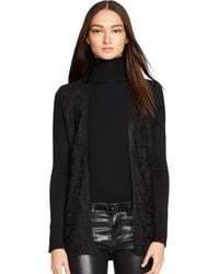 Ralph Lauren Black Label Lace-front Metallic Cardigan - Lyst