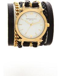 Sara Designs   Leather & Chain Wrap Watch - Gold/Black   Lyst