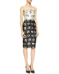 Lela Rose Floral Print Strapless Flounce  Back Dress - Lyst