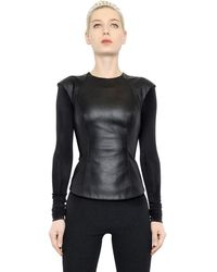 Gareth Pugh Nappa Leather Modal Blend Jersey Top - Lyst