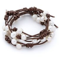 Chan Luu - Cultured Freshwater Pearl Wrap Bracelet - White/Brown - Lyst