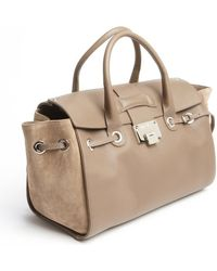 Jimmy Choo Taupe Grained Leather Rosa Tote Bag - Lyst