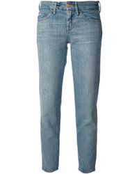 7 For All Mankind Cropped Cigarette Jeans - Lyst