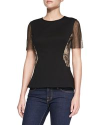 Jason Wu Ponte & Lace Short-Sleeve Top - Lyst
