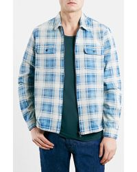 Topman Men'S Plaid Cotton Zip Shirt Jacket - Lyst
