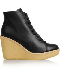 Stella McCartney Faux Leather Wedge Ankle Boots - Lyst