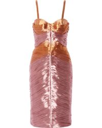 Burberry Prorsum Pleated Taffeta Dress - Lyst