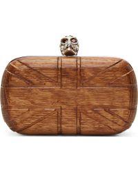 Alexander McQueen Wood Carved Britania Motif Skull Clasp Box Clutch - Lyst
