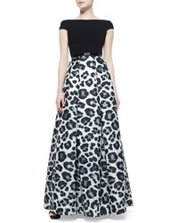 Theia Short Sleeve Animal-print Ball Gown - Lyst