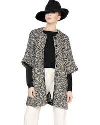 Emporio Armani Wool Blend Bouclè & Lurex Knit Coat - Lyst