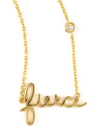 Shy By Sydney Evan - Fierce Word Diamond-detail Gold-plate Necklace - Lyst