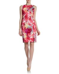 Kay Unger Sleeveless Printed Slit Dress - Lyst