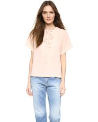 See By Chloé Lace Up Front Top - Peach Whip - Lyst