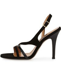 Kay Unger Aideen Suede & Patent Sandal black - Lyst