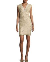 Julian Joyce By Mandalay Cap-Sleeve Embellished Lace Sheath Dress - Lyst