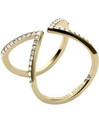 Michael Kors Gold Tone And Crystal Open Arrow Ring - Lyst