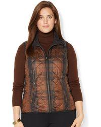 Lauren by Ralph Lauren Plus Size Reversible Quilted Paid Vest - Lyst
