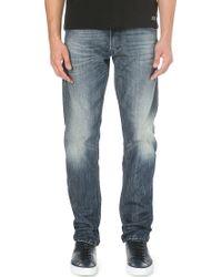 Diesel Krayver Tapered Low-rise Denim Jeans Blue - Lyst