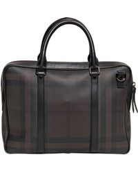 Burberry Checked Faux Leather Laptop Bag - Lyst