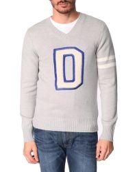 Diesel D Finferlo Logo V-Neck Sweater gray - Lyst