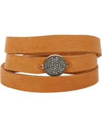 Feathered Soul - Unbreakable Disc & Leather Wrap Bracelet - Lyst