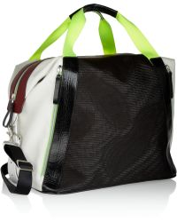 Monreal London - Colorblock Leather Canvas and Mesh Holdall - Lyst