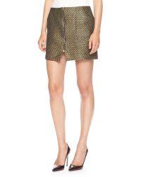 Suno Zip-Front Metallic-Weave Miniskirt - Lyst
