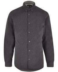 River Island Grey Ditsy Woven Long Sleeve Shirt - Lyst
