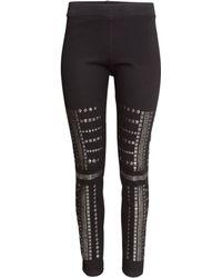 H&M Studded Leggings black - Lyst