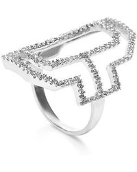 Fallon Sterling Silver Emerald Silhouette Cut-Out Ring - Lyst