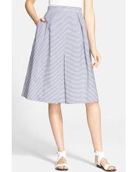 Tibi Stripe Cotton A-Line Skirt - Lyst