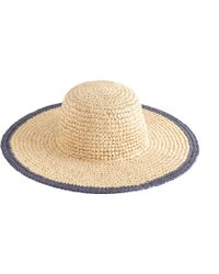 J.Crew Straw Beach Hat With Blue Trim beige - Lyst