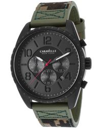 Caravelle NY - Men's Chrono Green Genuine Leather And Camouflage Canvas Black Dial - Lyst