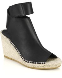 Vince Seymour Espadrille-Wedge Open-Toe Leather Booties - Lyst