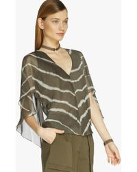 Halston Printed Flutter Sleeve Top green - Lyst