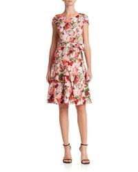 Carolina Herrera Belted Pansy-Print Dress multicolor - Lyst