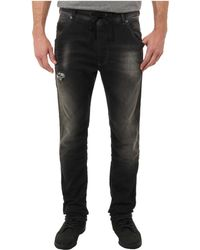 Diesel Krooleyne Sweat Jeans in Blackdenim - Lyst