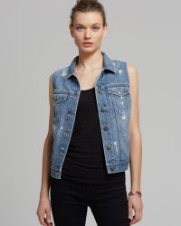 Two By Vince Camuto - Destroyed Denim Vest - Lyst