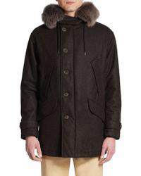 Giorgio Armani Caban Fur-Trimmed Cashmere-Blend Coat - Lyst