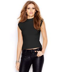 Guess Sleeveless Mock-turtleneck Cropped Sweater - Lyst