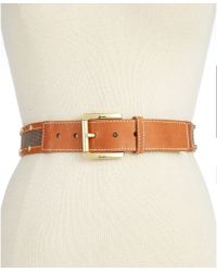 Michael Kors Michael Heavy Stitch Canvas Stud Belt - Lyst