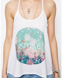 Asos Cami Top with Smile Print - Lyst