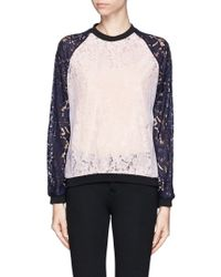 MSGM Colourblock Lace Sweatshirt - Lyst