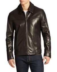 Cole Haan Cropped Lambskin Jacket - Lyst