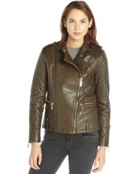 Vince Camuto Olive Green Leather Quilted Sleeve Asymmetrical Zip Jacket - Lyst